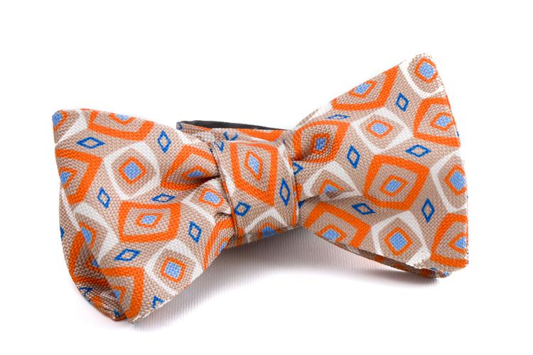 Self tie Silk Medallion - Orange/Beige/Off White/Light Blue
