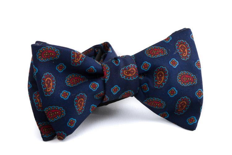 Self tie Silk Paisley - Navy Blue/Orange