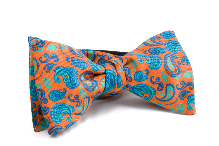 Self tie Silk Paisley - Orange/Turquoise