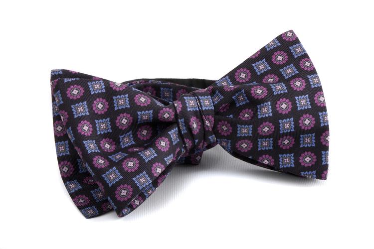 Self tie Silk Floral - Navy Blue/Light Blue/Purple