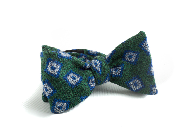 Self tie Wool Diamond - Green/Blue