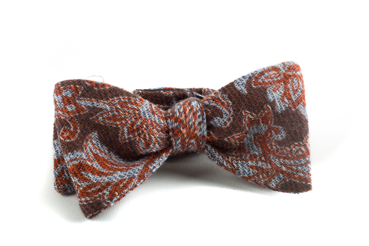 Self tie Wool Paisley - Brown/Light Blue/Orange