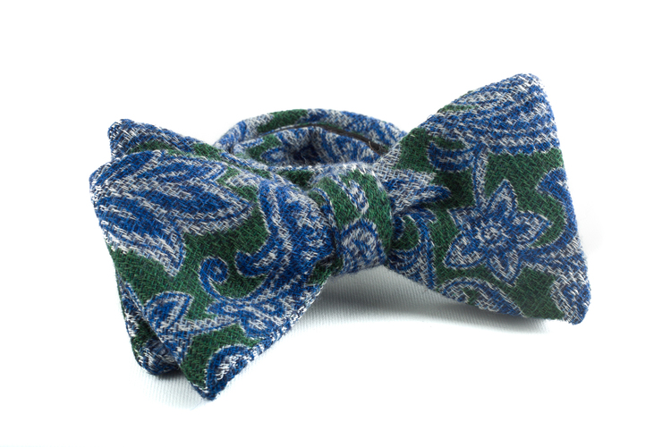 Self tie Wool Paisley - Green/Light Blue/Navy Blue