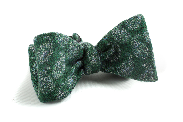 Self tie Wool Paisley - Green/Grey