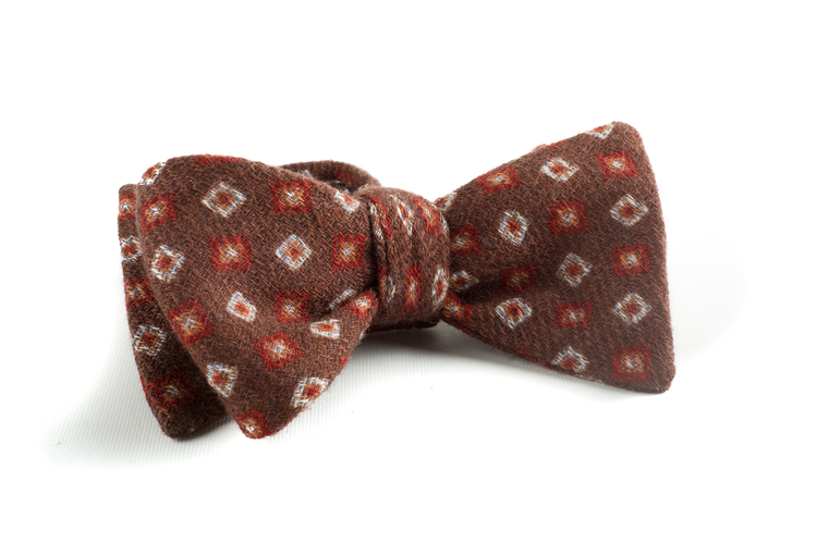 Self tie Wool Square - Brown/Red/White