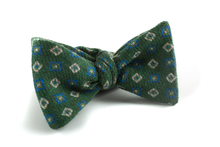 Self tie Wool Square - Green/Navy Blue/White