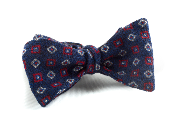 Self tie Wool Square - Navy Blue/Red/White