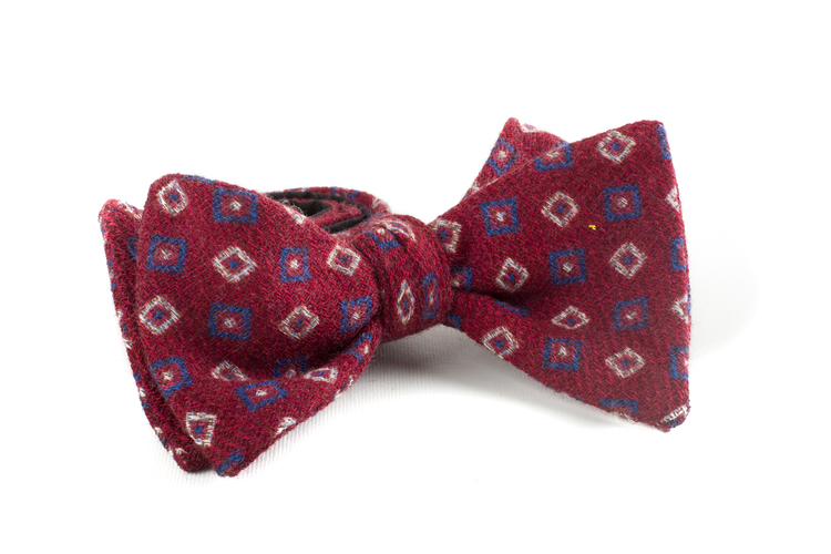 Self tie Wool Square - Burgundy/Navy Blue/White
