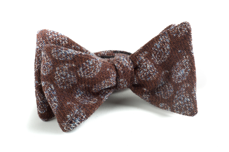 Self tie Wool Paisley - Brown/Grey