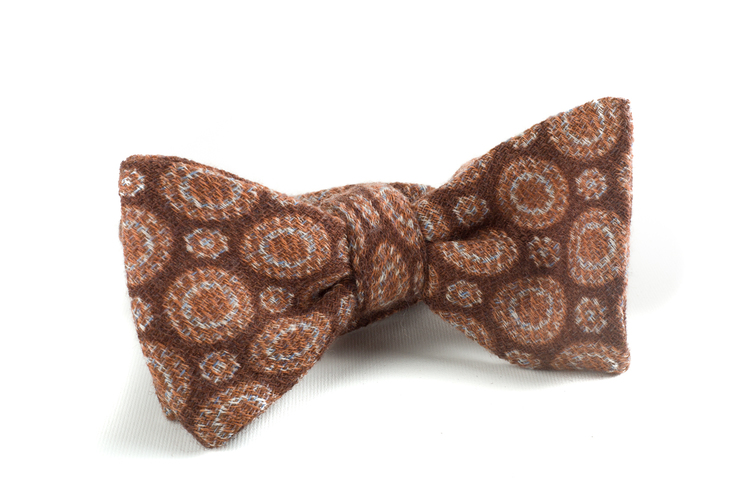 Self tie Wool Circular - Brown/Beige