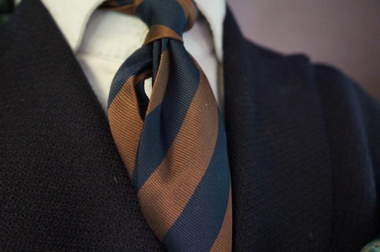 Silk/Cotton Regimental - Navy Blue/Brown