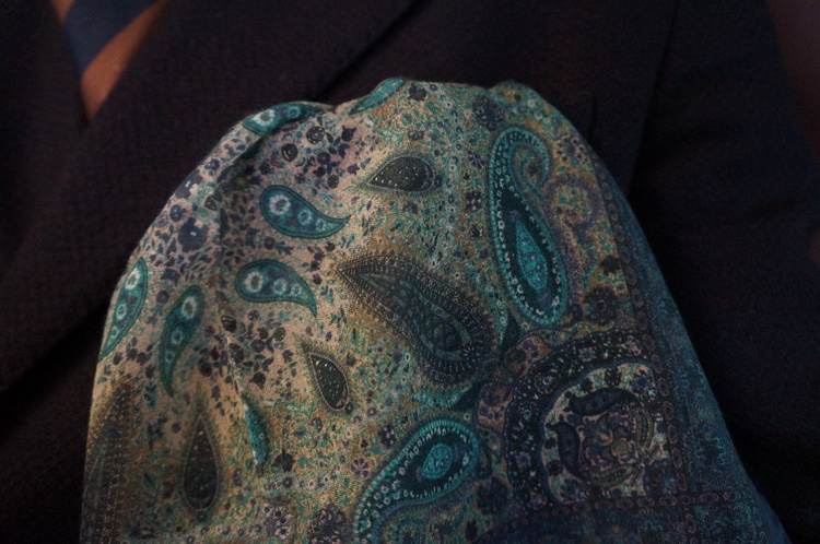 Cashmere/Cotton Paisley - Navy Blue/Green/Beige