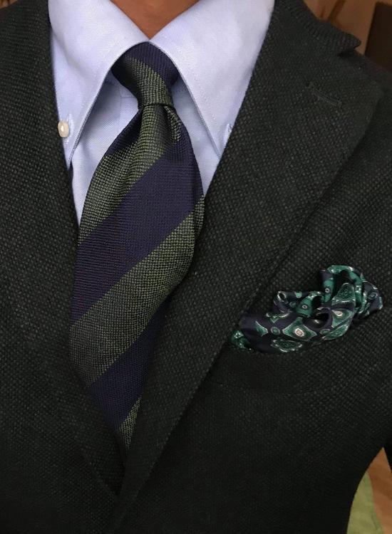 Wool/Silk Untipped Regimental - Navy Blue/Green