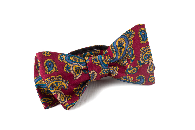 Self tie Silk Paisley - Burgundy/Yellow/Blue