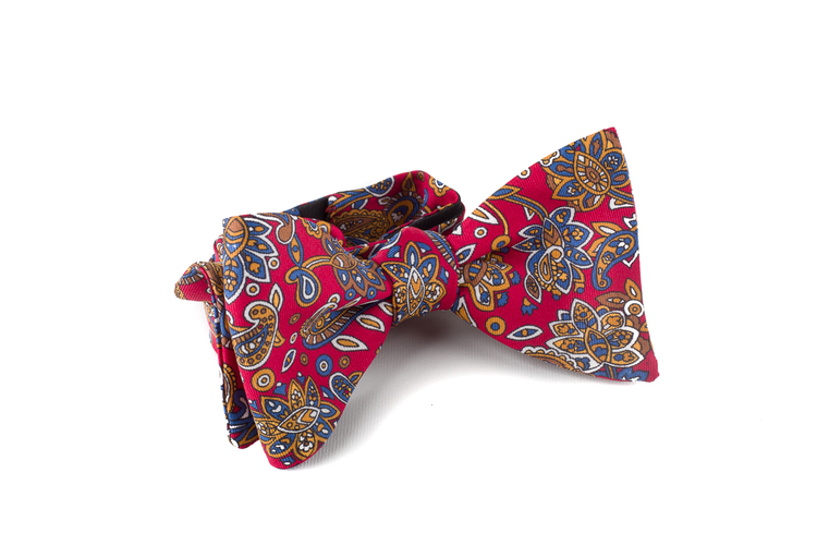 Self tie Silk Paisley - Burgundy/Blue/Orange