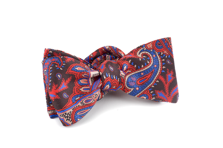 Self tie Silk Paisley - Brown/Red/Blue