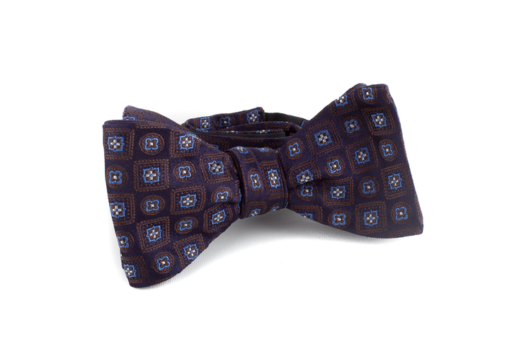 Self tie Silk Floral - Navy Blue/Brown/Light Blue