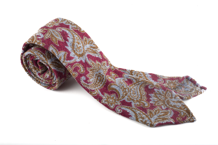 Wool Untipped Paisley - Burgundy/Light Blue/Green