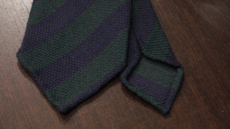 Wool Untipped Regimental - Navy Blue/Green
