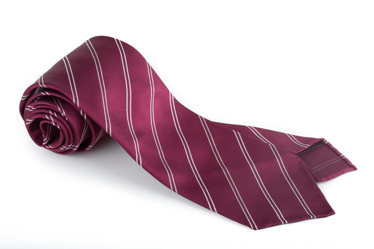 Silk Regimental Untipped - Burgundy/White