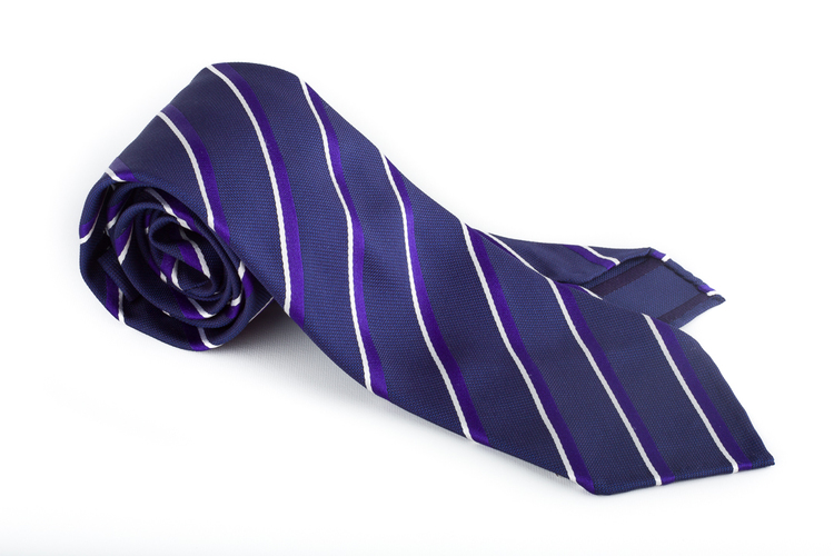 Silk Regimental Untipped - Navy Blue/Lilac/White
