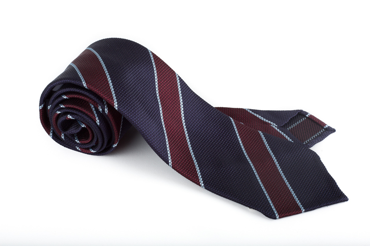 Silk Regimental Untipped - Navy Blue/Burgundy/Light Blue