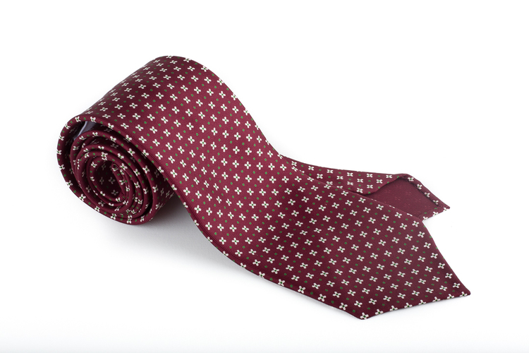 Floral Printed Silk Tie - Untipped - Burgundy/White/Green