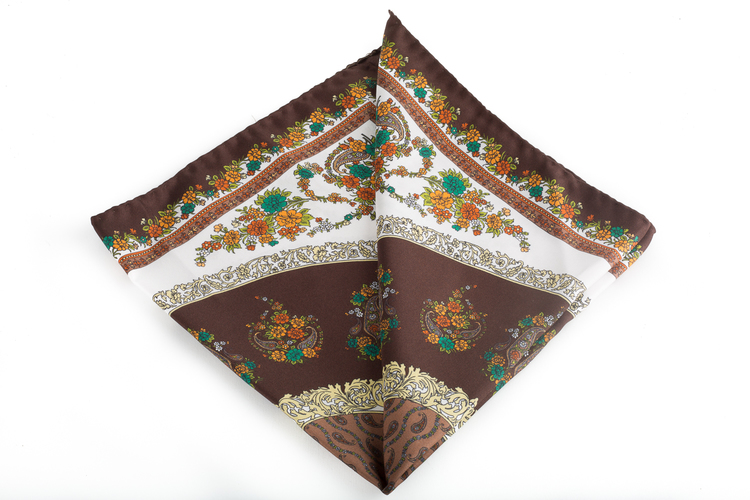Silk Floral - Brown/White/Yellow (45x45)