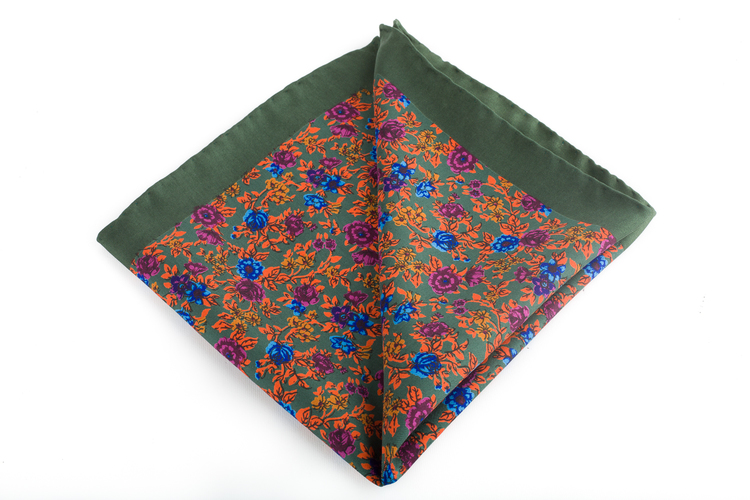 Silk Floral Vintage - Green/Orange/Blue/Purple