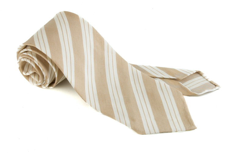 Linen Silk Regimental Untipped - Beige/White