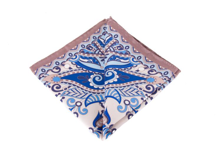 Silk Fiori - Navy Blue/Beige/Light Blue/White