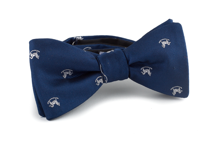 Self tie Silk Rocking Horse - Navy Blue/White