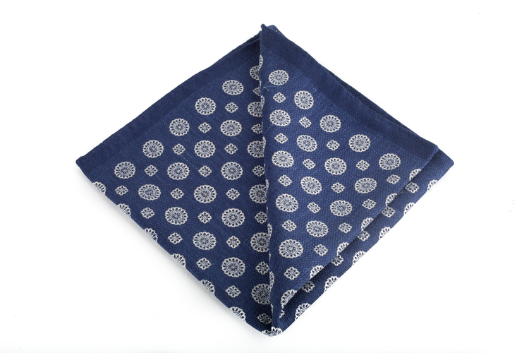 Silk Circle / Paisley Two Faced - Navy Blue/Light Blue