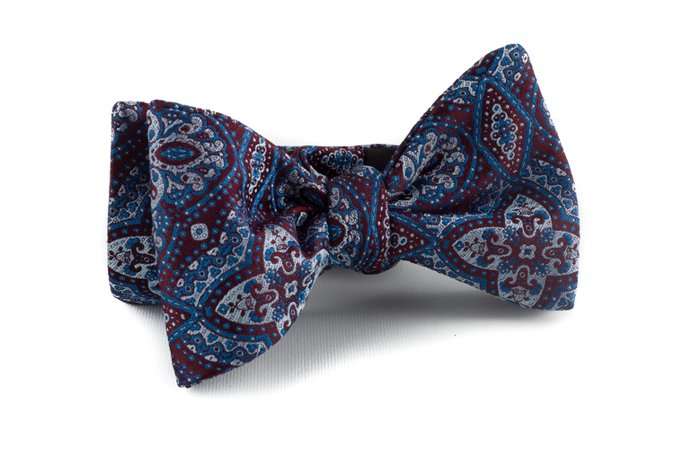Self tie Silk Medallion - Burgundy/Light Blue