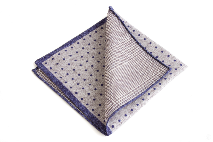 Silk Polka Dot / Plaide Two Faced - Light Grey/Navy Blue