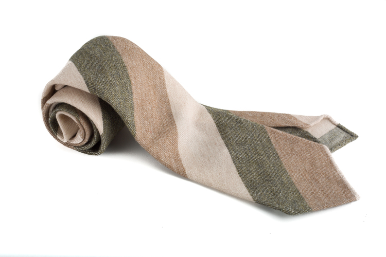 Untipped Regimental Cashmere - Beige/Creme/Olive Green