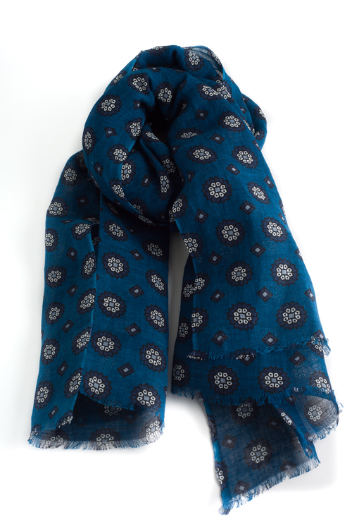 Scarf Floral - Navy/Petrol Blue