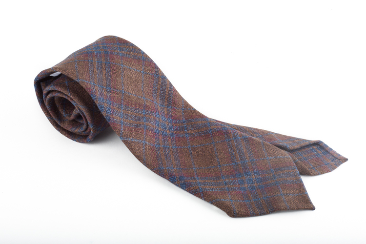 Plaid Linen/Wool tie - Untipped - Brown/Rust/Blue