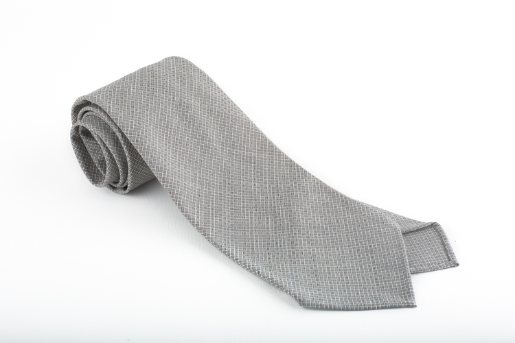 Micro Square Wool Untipped Tie - Grey