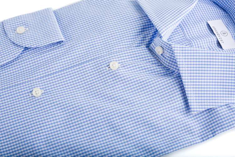 Poplin check - Light Blue/White