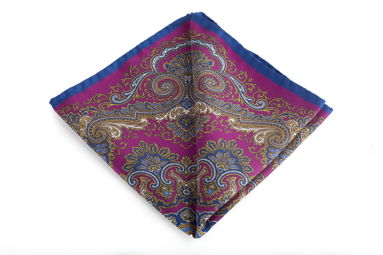 Silk Medallion - Cerise/Gold/Navy Blue