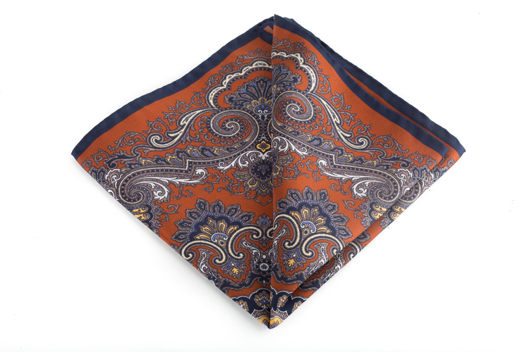 Silk Medallion - Orange/Gold/Navy Blue