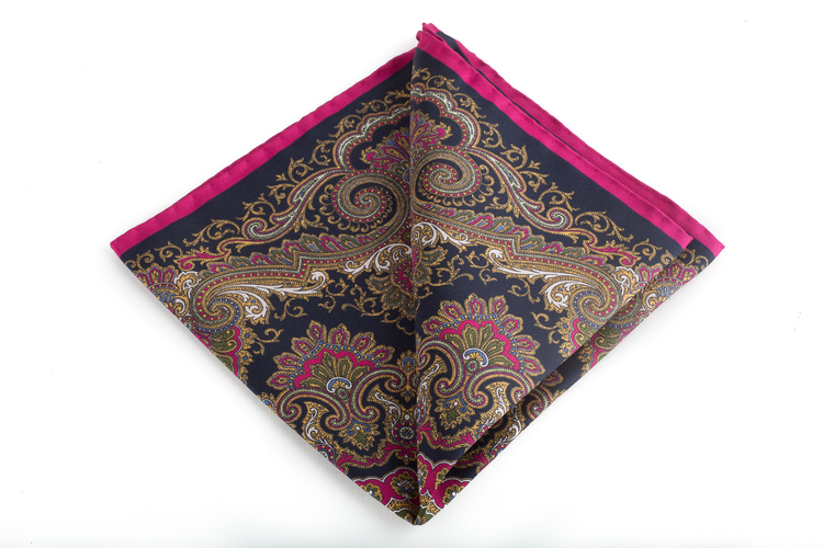 Silk Medallion - Navy Blue/Gold/Cerise