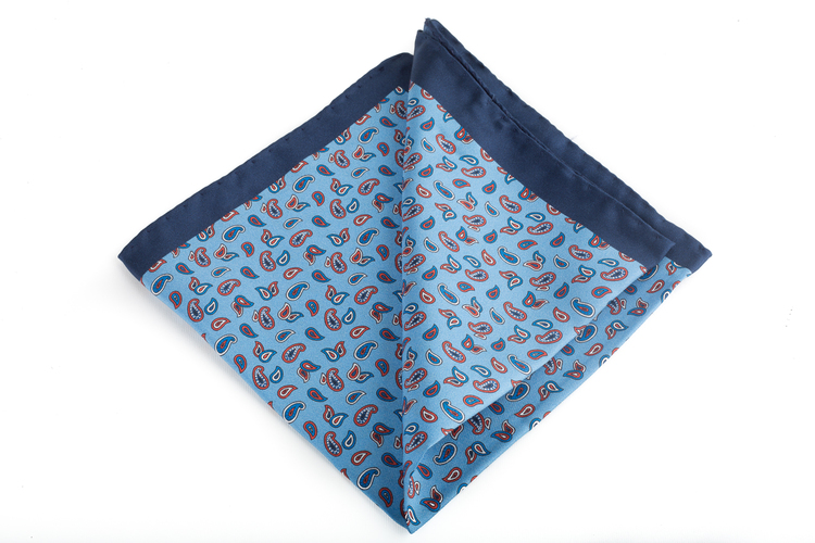 Silk Paisley - Light Blue/Navy Blue/Red