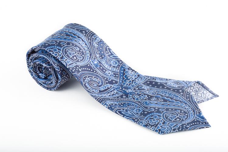 Silk Paisley Untipped - Navy Blue/Light Blue