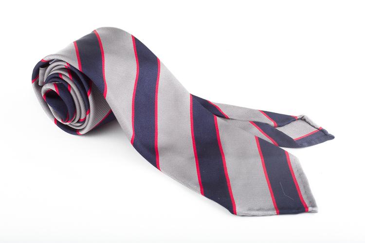 Silk Regimental Untipped - Grey/Navy Blue/Red