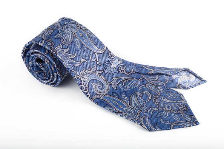 Silk Paisley Untipped - Light Blue/Grey