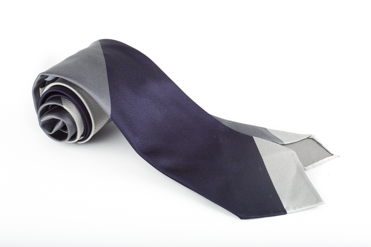 Silk Regimental Untipped - Navy Blue/Dark Grey/Light Grey