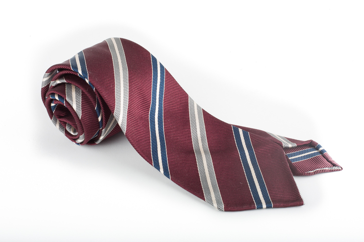 Silk Regimental Untipped - Burgundy/Navy Blue/Grey/White
