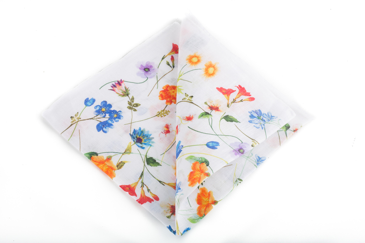 Linen Floral - White/Orange/Green/Blue